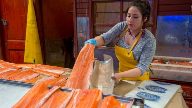 Mujer vendiendo salmón