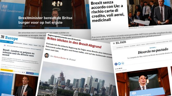 Combo image of European newspapers' articles on Brexit
