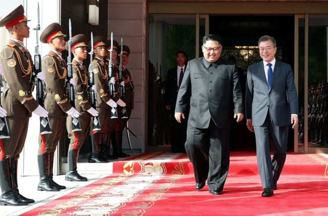 In this handout image provided by South Korean Presidential Blue House, South Korean President Moon Jae-in (R) walks with North Korean leader Kim Jong-un (L) during their meeting on May 26, 2018 in Panmunjom, North Korea. North and South Korean leaders held the surprise second summit after U.S. President Donald Trump cancelled the meeting with Kim Jong-un scheduled for June 12. Trump has since indicated that the meeting could take place a day after. (Photo by South Korean Presidential Blue House via Getty Images)