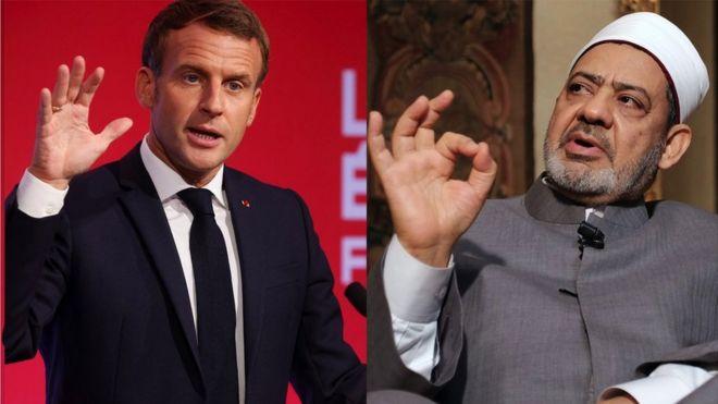 صورة لشيخ الأزهر أحمد الطيب والرئيس الفرنسي إيمانويل ماكرون