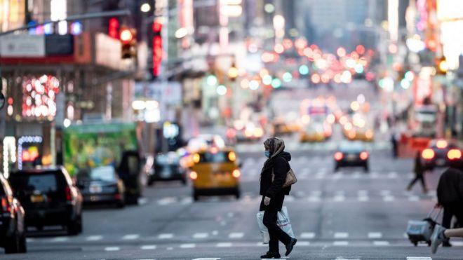 美国纽约的车辆交通明显减少。