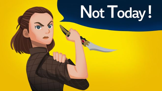 """Ilustração de Arya Stark segurando um punhal com frase ao fundo em que se lê """"Não hoje"""""""