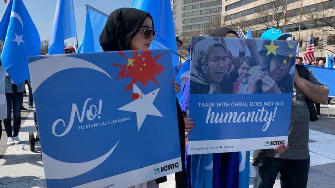 ABD'de uygur protestosu