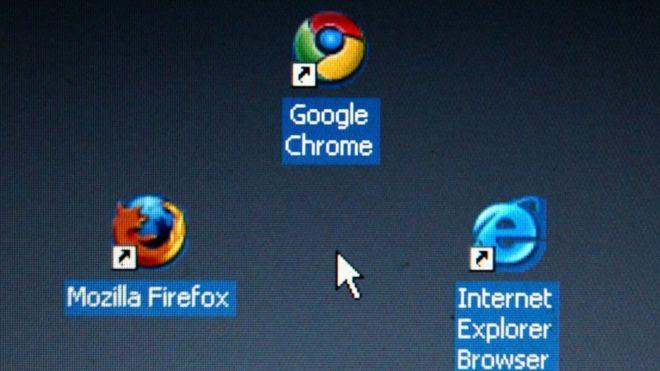 Ícones dos navegadores Firefox, Chrome e Explorer