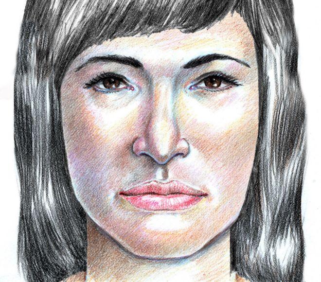Dibujo forense de la mujer de Isdal