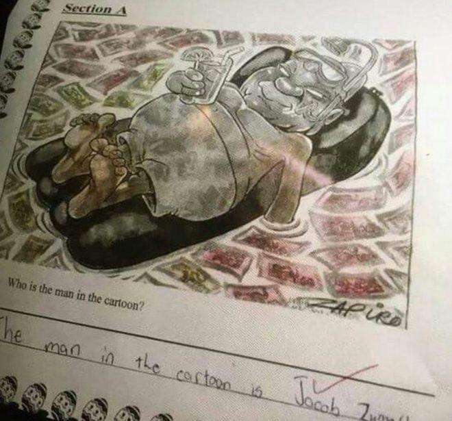 Zuma cartoon exam question: South African school apologises - BBC News
