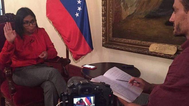 La canciller venezolana Delcy Rodríguez en entrevista con BBC Mundo