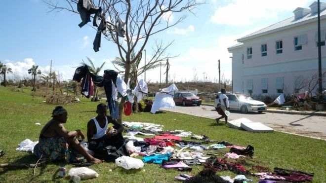 Victims of hurricane Dorian in Grand Abaco Island on 5 September 2019