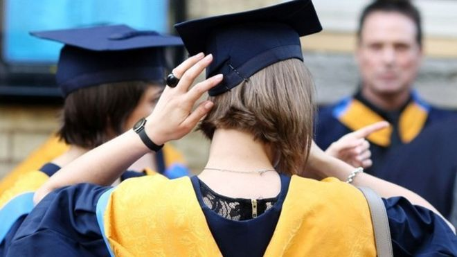 Student adjusting her hat