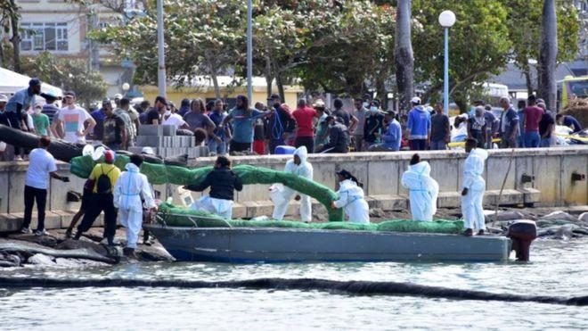 Voluntarios trabajan para contener el derrame en Mauricio.