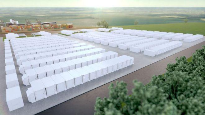 Representação do que será a maior instalação de armazenamento de bateria do Reino Unido, com 320 megawatts de capacidade