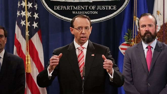 Rod Rosenstein unveils the latest round of indictments from the special counsel office.