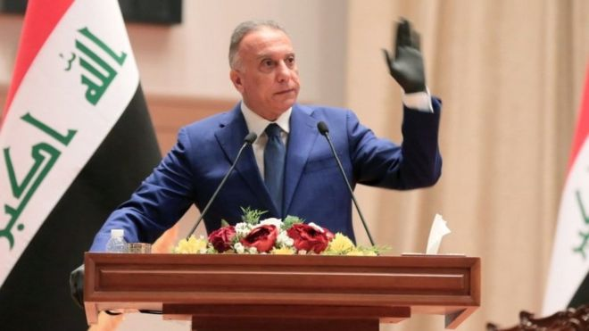 Mustafa al-Kadhimi takes the oath of office in Baghdad after being appointed Iraq's prime minister (7 May 2020)