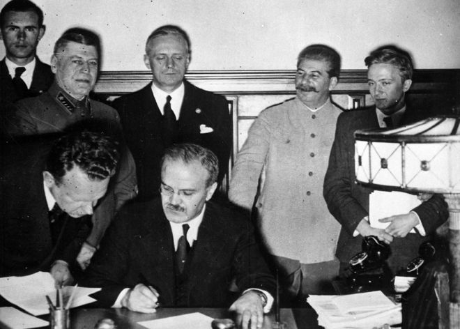 Molotov signs the Nazi-Soviet Pact in Moscow, 23 August 1939
