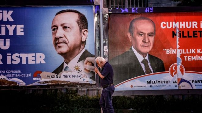 Erdoğan ve Bahçeli afişleri