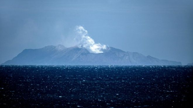 Steam rises from the White Island volcano in Whakatane on December 10, 2019