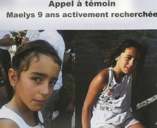 A photo taken on 28 August 2017 shows an appeal for witnesses poster for Maëlys,