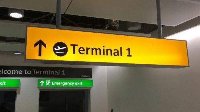 Terminal 1 sign
