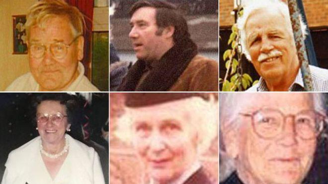 Las víctimas: Robert Wilson, Geoffrey Packman, Arthur (Brian) Cunningham, Sheila Gregory, Enid Spurgin y Elsie Devine