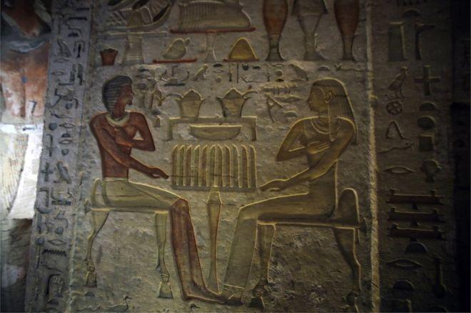 نگارههایی از روحانی دفن شده در مقبره به همراه همسر و اعضای خانواده اش