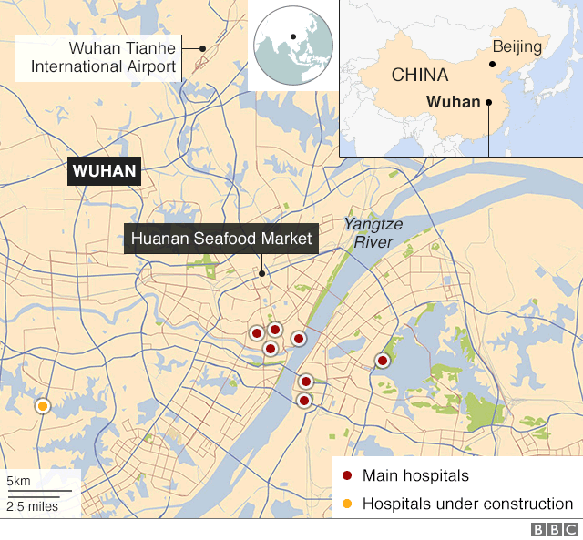 Map showing main hospitals and planned hospital site in Wuhan