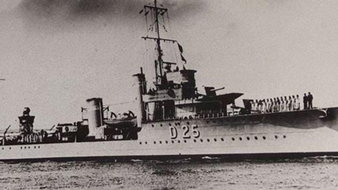 Hms Warwick World War Two Sinking Remembered 75 Years On Bbc News