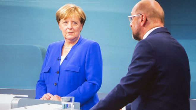 Live broadcast of debate between German Chancellor Angela Merkel and main opponent Martin Schulz on September 3, 2017 in Berlin