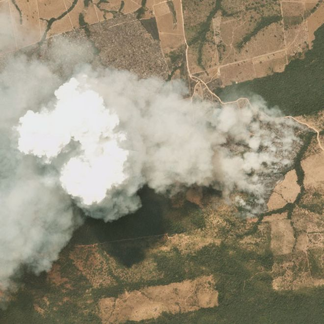Imagen satelital de incendios en Mato Grosso, Brasil