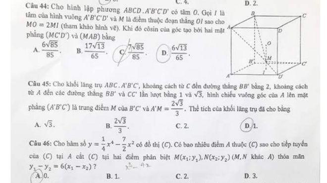 Đề toán THPT năm nay thậm chí còn quá sức nhiều giáo sư, nhà toán học?