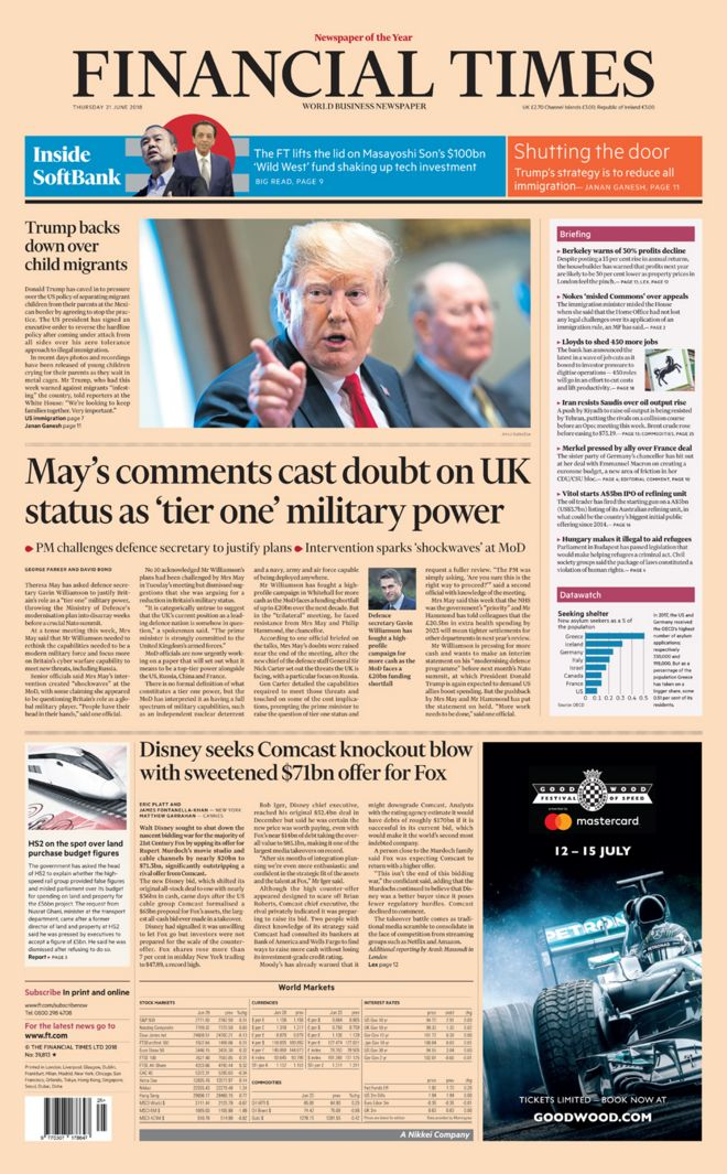 Financial Times front page- 21/06/18