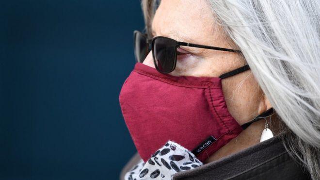 Woman in London wearing face mask