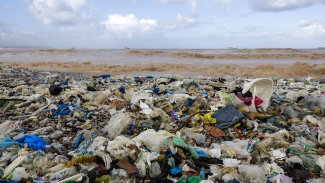 Imagem mostra lixo de plástico acumulado em praia