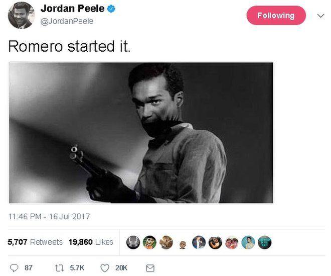 Tweet reads: Romero started it