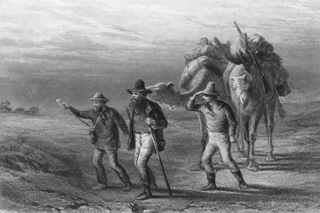 Robert Burke, William Wills e John King chegando ao Coopers Creek em 1861