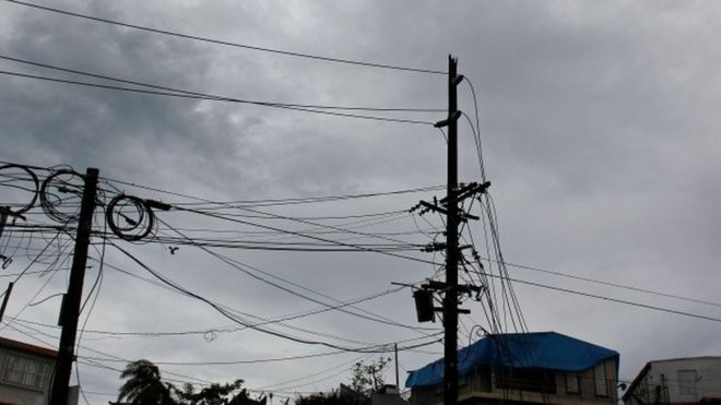 Damaged power lines in Puerto Rico