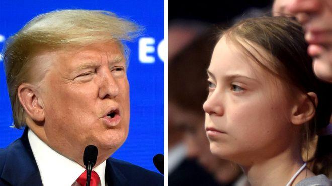 El presidente de EE.UU., Donald Trump y la activista climática Greta Thunberg, el 21 de enero de 2020.
