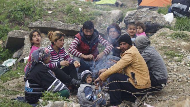 Мигранты в лагере Идомени (07 марта 2016 г.)