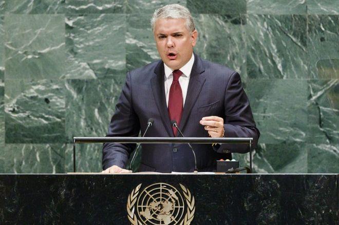 Duque dando un discurso en la ONU.