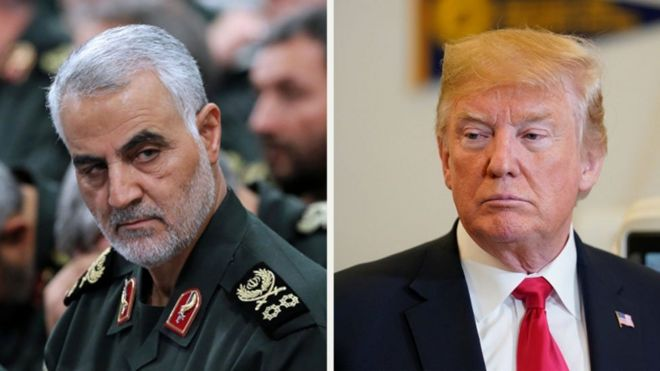Composite image of Major-General Qassem Soleimani (left), Donald Trump (right)