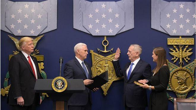 James Mattis đọc lời tuyên thệ trong lễ nhậm chức Bộ trưởng Quốc phòng Hoa Kỳ