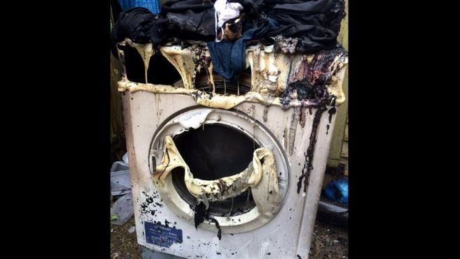 The destroyed tumble dryer