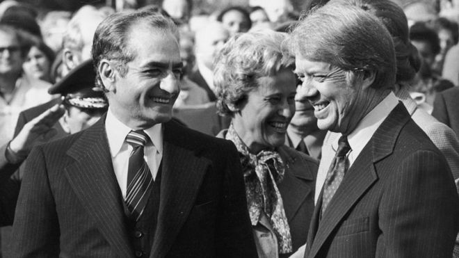 El sha Mohamed Reza Pahlevi y Jimmy Carter durante una visita del dirigente iraní a Washington.