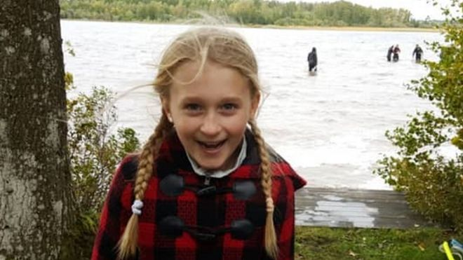 Saga Vanecek at Lake Vidösten in a photo posted to social media by her father Andy,