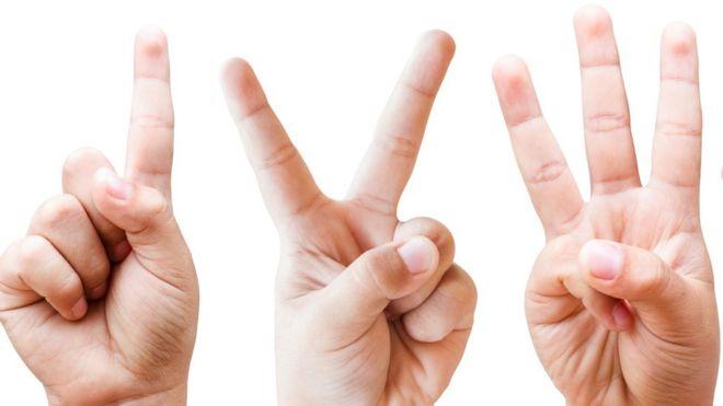 mãos com números 1, 2, 3