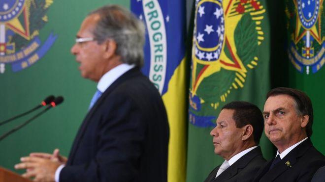 Paulo Guedes, Mourão e Bolsonaro
