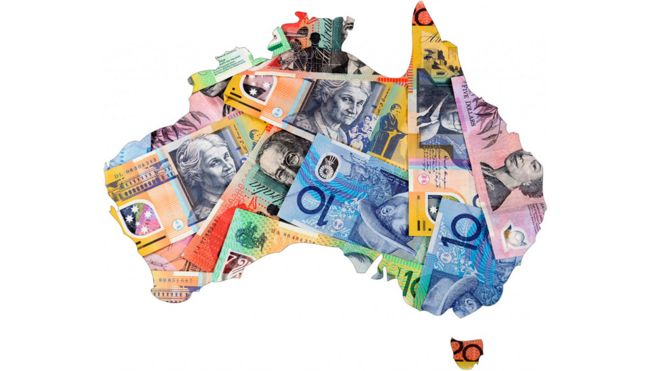 A map of Australia covered with Australian bank notes