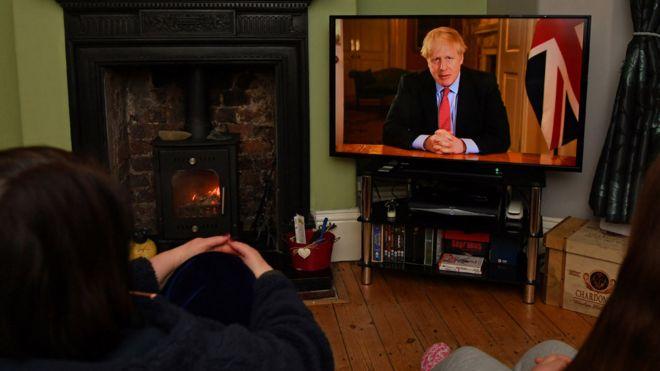 People watching Boris Johnson's televised address