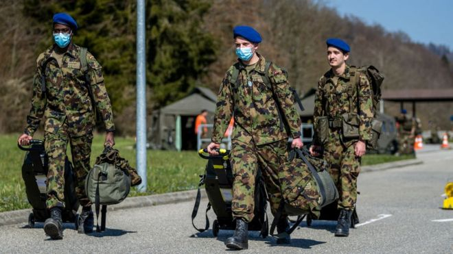 Swiss soldiers mobilised for the Covid-19 outbreak