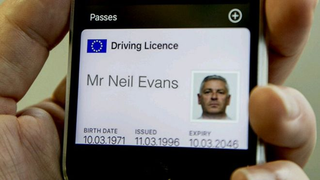 bd89098cfa Photo of a driver s licence for Mr Neil Evans displayed in Apple s passbook.