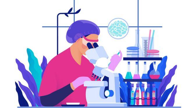Ilustração de cientista olhando microscópio